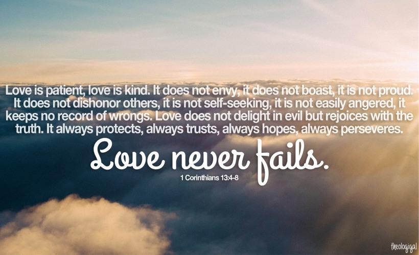 Bible verse - 1 Corinthians 13 - Love is patient, love is kind, love never fails - 2015